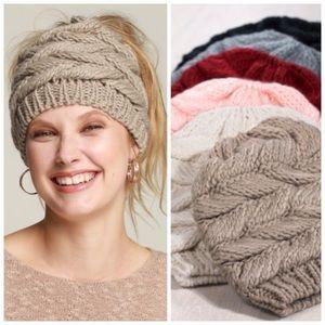 Messy bun ponytail knit beanie